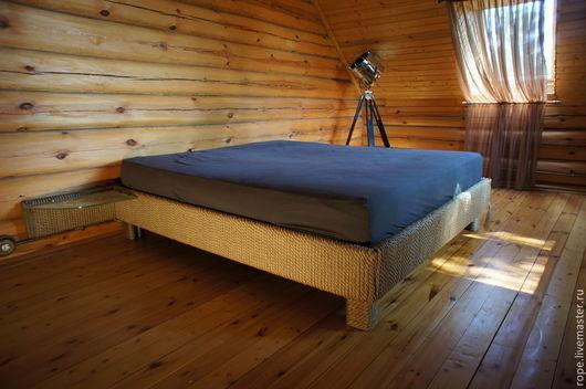 Мебель ручной работы. Ярмарка Мастеров - ручная работа. Купить Двуспальная кровать из джутового каната. Handmade. Кровать, эко мебель