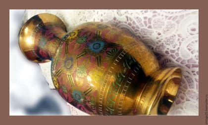 Винтажные предметы интерьера. Ярмарка Мастеров - ручная работа. Купить Медная красивая ваза винтаж. Handmade. Золотой, старинная ваза