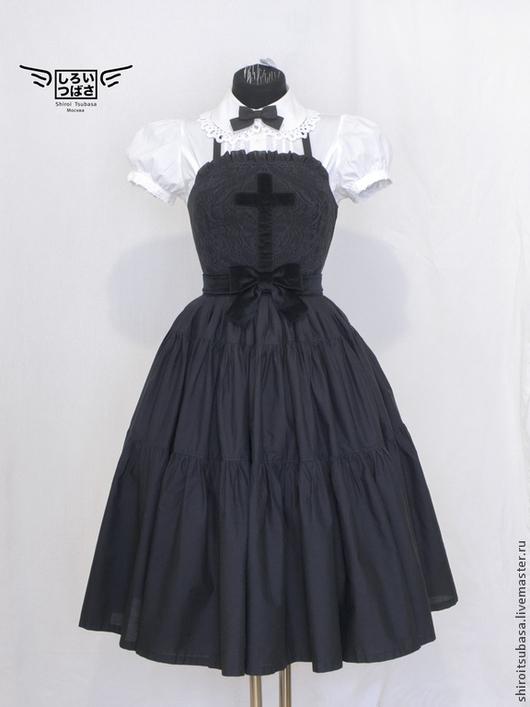Платья ручной работы. Ярмарка Мастеров - ручная работа. Купить Платье с крестом, длинное (D10/CW1). Handmade. Черный, дизайнерское платье