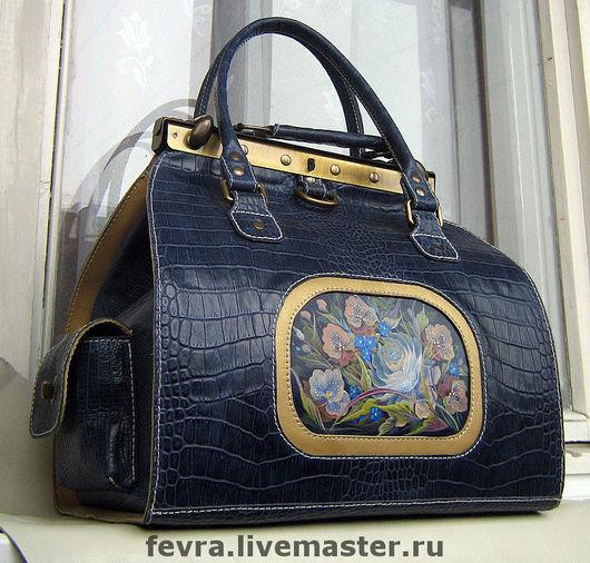 Handbags handmade. Livemaster - handmade. Buy Bag 'Blue bouquet'..Leather bag, golden leather