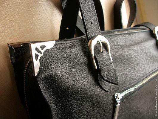 Женские сумки ручной работы. Ярмарка Мастеров - ручная работа. Купить Сумка женская кожаная с ручками черная. Handmade.