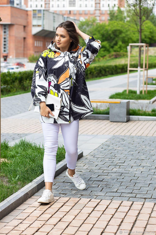 Верхняя одежда ручной работы. Ярмарка Мастеров - ручная работа. Купить Летняя куртка из хлопка яркие  крупные цветы. Handmade.