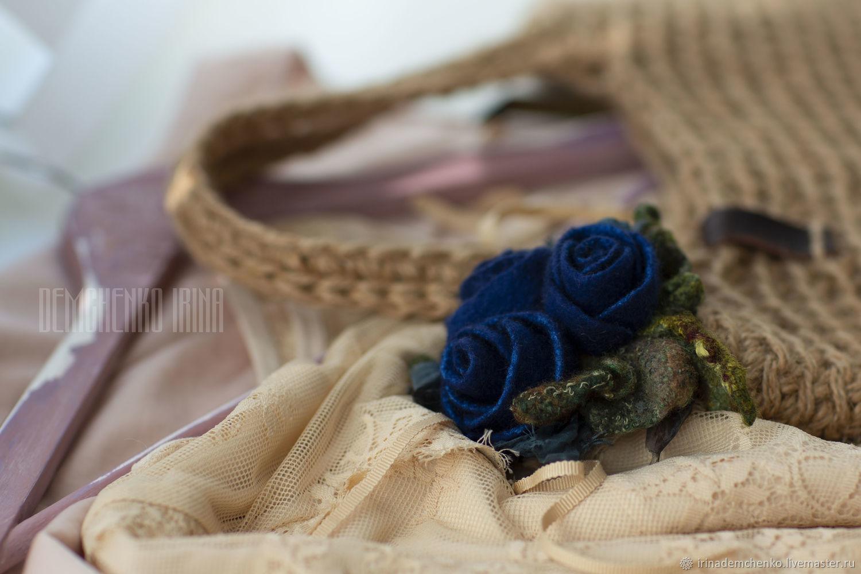 Валяная брошь «Букет из синих роз», Броши, Краснодар, Фото №1