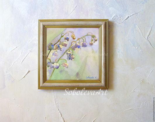 Картина с ландышами керамическая плитка Автор Соболева Карина