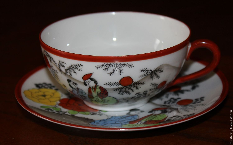 Винтажная посуда. Ярмарка Мастеров - ручная работа. Купить Винтаж: Красивая, винтажная, фарфоровая чайная пара, Кутани, Япония. Handmade.