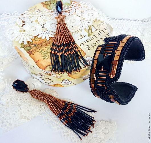 Серьги ручной работы. Ярмарка Мастеров - ручная работа. Купить Серьги и браслет в стиле Оскар де ла Рента золотые 2 варианта. Handmade.
