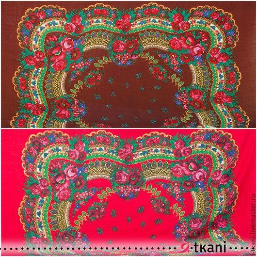 Платочная купонная ткань. Цвет `коричневый`, `красный`. Производство: Япония. Состав: 100% акрил. Цена за 1 купон: 590 руб. Размер купона: 120х120 см. Размер рисунка: 90х90 см.