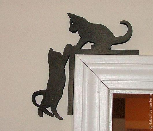 Интерьерные слова ручной работы. Ярмарка Мастеров - ручная работа. Купить Силуэт кошек на дверной косяк или окно. Handmade.