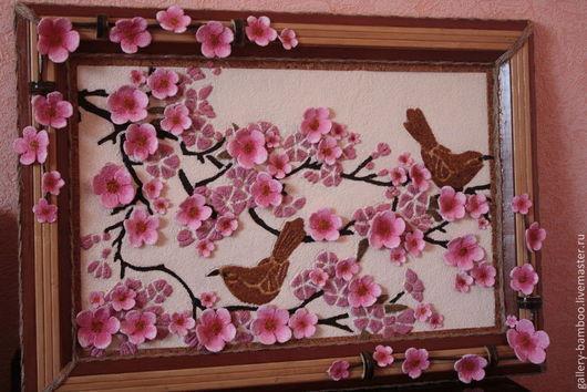 `Сакура` для изготовления использовалась авторская техника, рамка- бамбук