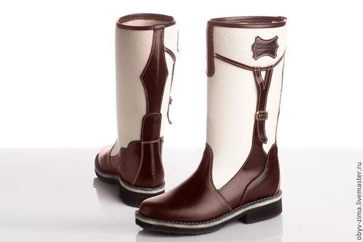 Обувь ручной работы. Ярмарка Мастеров - ручная работа. Купить Сапожки войлочные темные. Handmade. Белый, войлок, кожа натуральная