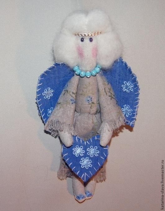 """Куклы Тильды ручной работы. Ярмарка Мастеров - ручная работа. Купить Ангел тильда """"Синее сердце"""". Handmade. Голубой, ангел"""