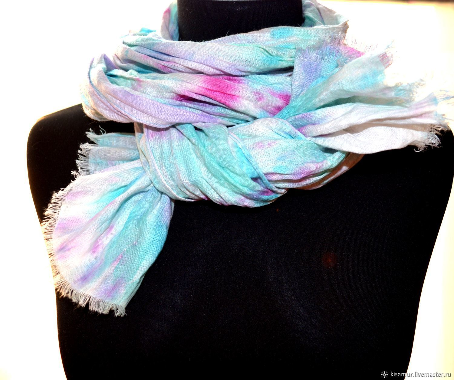 Pressed linen female boho scarf with fringe white pink blue, Scarves, Vyazma,  Фото №1