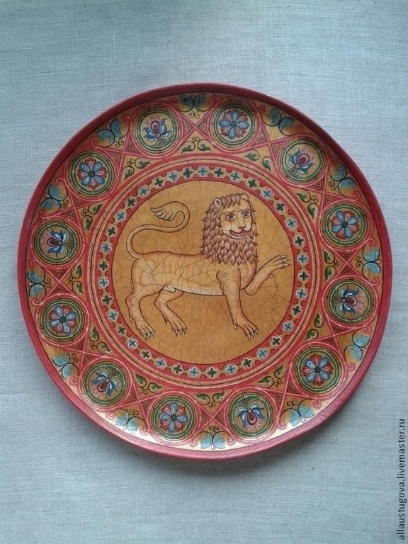 Plate vintage 'lion', Ware in the Russian style, Zaraysk,  Фото №1
