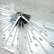Для дома и интерьера handmade. Livemaster - original item Watch Ice. Glass wall clock. Fusing. Minimalism. Glass. Handmade.