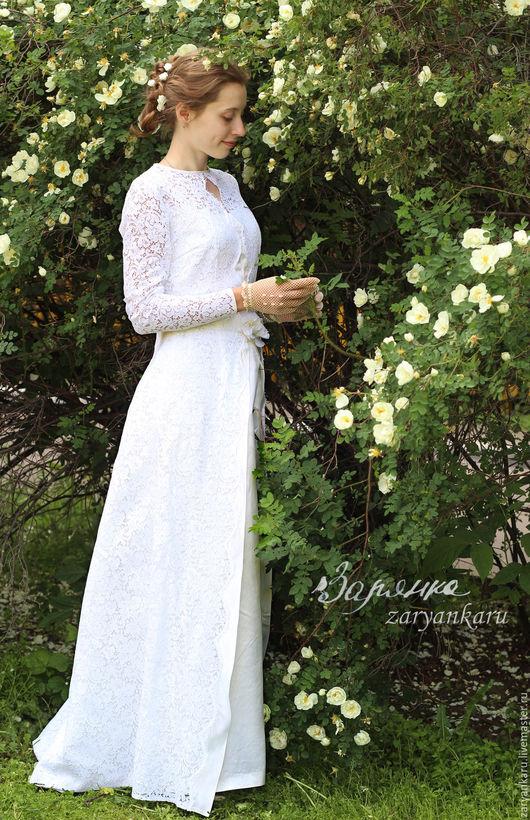 Одежда и аксессуары ручной работы. Ярмарка Мастеров - ручная работа. Купить Старинное свадебное платье. Handmade. Белый, старинное платье