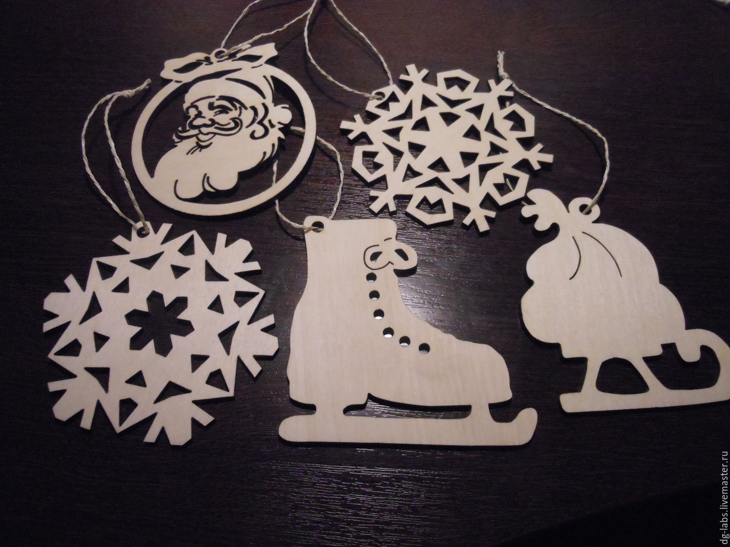 A set of hangers on the tree snowflakes (5pcs.), Christmas decorations, Moscow,  Фото №1
