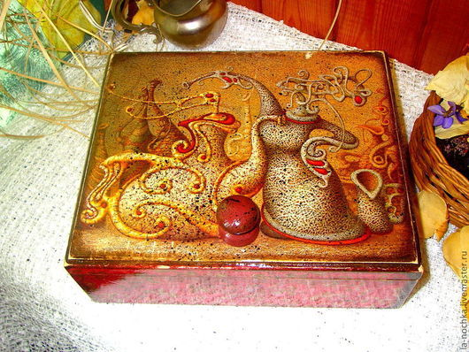 """Кухня ручной работы. Ярмарка Мастеров - ручная работа. Купить Короб для чайных пакетиков """"Чаепитие"""". Handmade. Чайный короб, дерево"""