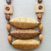 """Украшения ручной работы. Ярмарка Мастеров - ручная работа Бусы """"Качели"""" - дерево и сизаль. Handmade."""