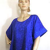 """Одежда ручной работы. Ярмарка Мастеров - ручная работа Блузка синяя""""Горошки""""жаккард 50%шелк50%хлопок ручная роспись. Handmade."""