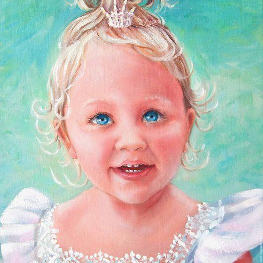 """Люди, ручной работы. Ярмарка Мастеров - ручная работа. Купить """"Ангел синеглазый."""" Портрет Девочки.Картина маслом. Голубой.. Handmade."""