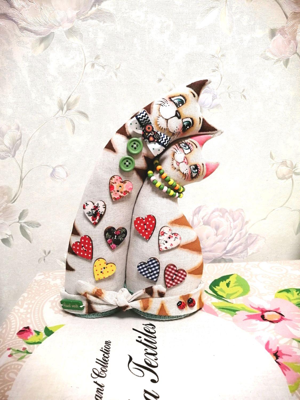 Неразлучники коты льняные с деревянным декором, Мягкие игрушки, Ставрополь,  Фото №1