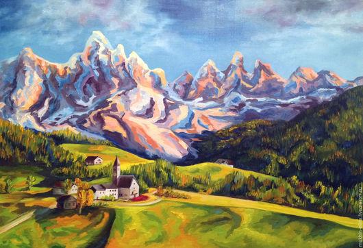 Пейзаж ручной работы. Ярмарка Мастеров - ручная работа. Купить Альпы. Handmade. Комбинированный, пейзаж маслом, горный пейзаж, часовня