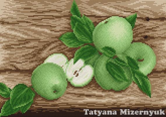 Вышивки крестом зеленое яблоко 75
