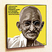 Подарки к праздникам handmade. Livemaster - original item Picture of Mahatma Gandhi in the style of Pop Art. Handmade.
