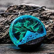 Украшения handmade. Livemaster - original item Pendant made of wood and resin Polar Night Mountain. Handmade.