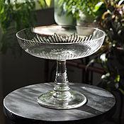 Винтаж handmade. Livemaster - original item Antique blown glass candy bowl, vase on a leg. Handmade.