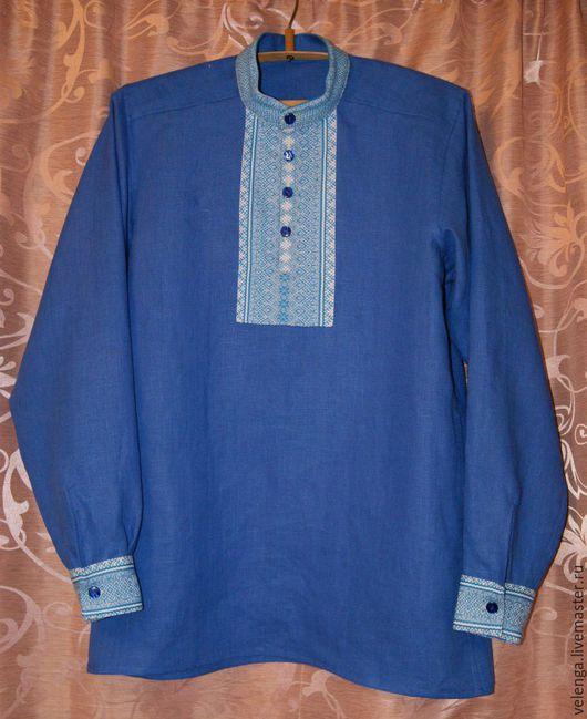 Одежда ручной работы. Ярмарка Мастеров - ручная работа. Купить Славянская рубаха.. Handmade. Синий, Льняная рубаха, праздничная рубаха