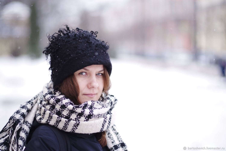"""Шапка валяная """"Чернышка», Caps, St. Petersburg,  Фото №1"""