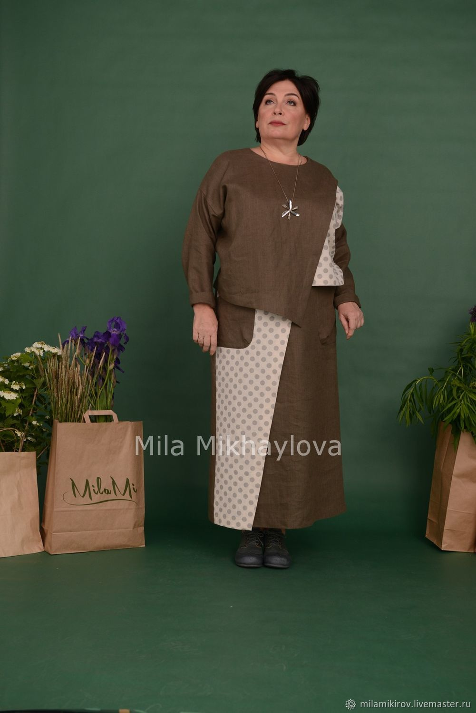 Tunic with asymmetric shelf linen khaki / pea Art. Three thousand five hundred forty, Tunics, Kirov,  Фото №1