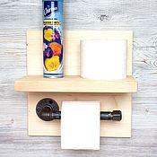 Держатели ручной работы. Ярмарка Мастеров - ручная работа Держатель туалетной бумаги с полочкой в стиле Лофт, Рустик. Handmade.