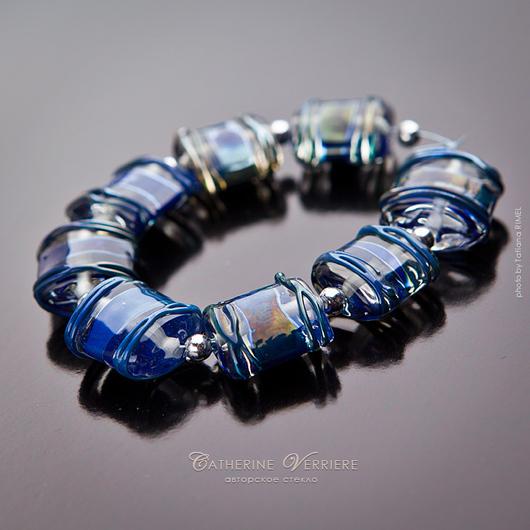 """Для украшений ручной работы. Ярмарка Мастеров - ручная работа. Купить Бусины """"Синяя даль"""". Handmade. Синий, переливающийся, для серег"""