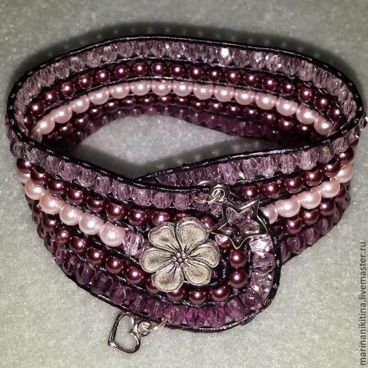 """Браслеты ручной работы. Ярмарка Мастеров - ручная работа. Купить Браслет """"Лавандовый"""". Handmade. Сиреневый, розовый цвет, кожаный шнур"""