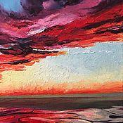 Картины ручной работы. Ярмарка Мастеров - ручная работа Купить картина маслом багровый закат над озером Москва. Handmade.