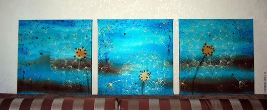 """Абстракция ручной работы. Ярмарка Мастеров - ручная работа. Купить Батик панно """"Одуванчиковый вечер"""". Триптих. Модульная картина. Handmade."""