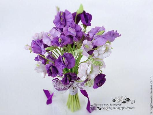 Свадебные цветы ручной работы. Ярмарка Мастеров - ручная работа. Купить Букет невесты, Свадебный букет  Сиреневый - цветы из полимерной глины. Handmade.