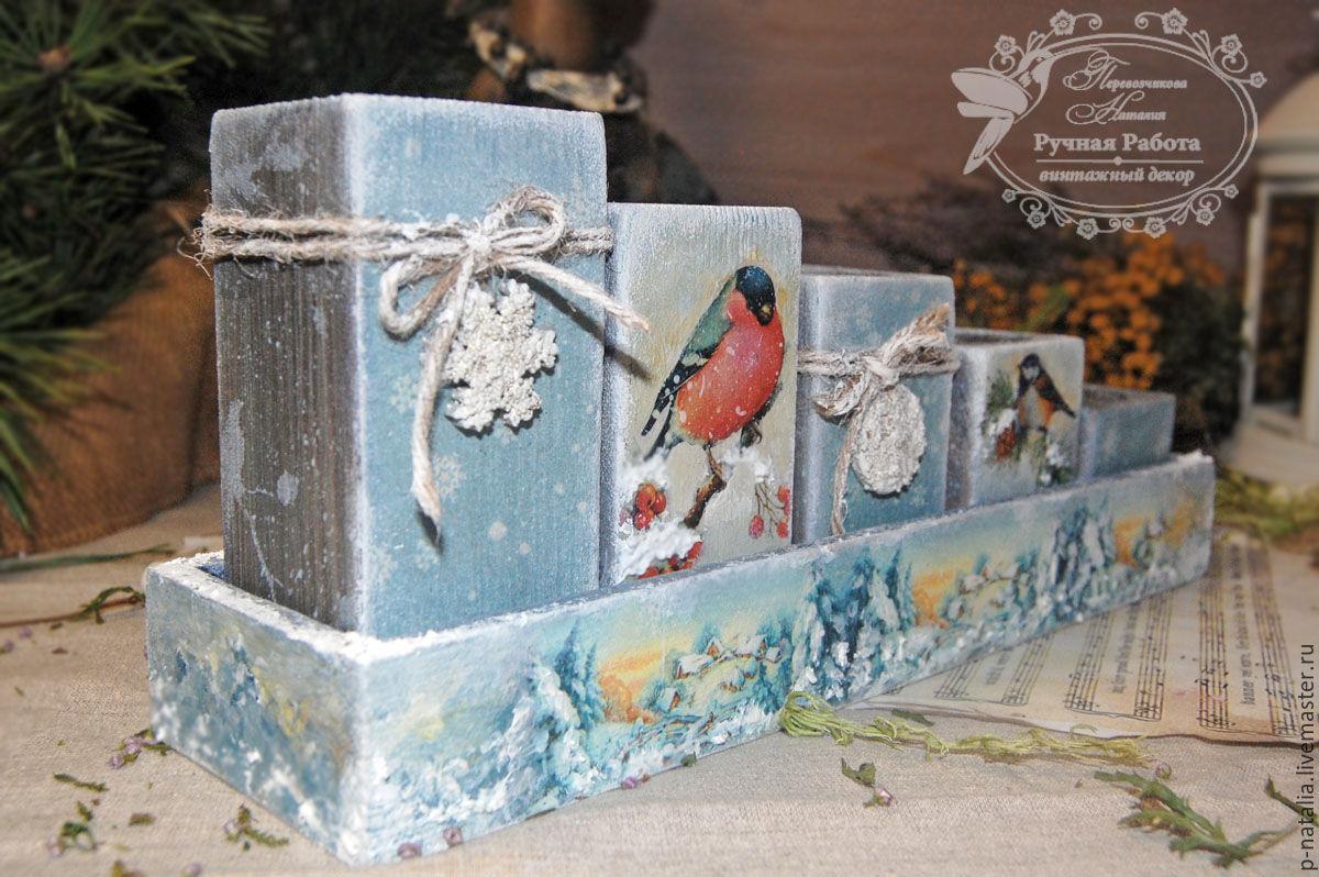 """Купить Подсвечник """"Зимний Лес"""" - новый год декупаж, новогодний подарок, новогодний сувенир, новогодний интерьер"""