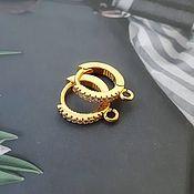 Материалы для творчества handmade. Livemaster - original item Hoops earrings with cubic Zirconia 14 mm color gold (4518). Handmade.