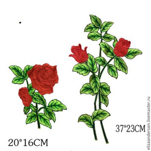 Аппликации, вставки, отделка ручной работы. Ярмарка Мастеров - ручная работа. Купить Великолепный набор термоаппликаций, Красные розы. Handmade.