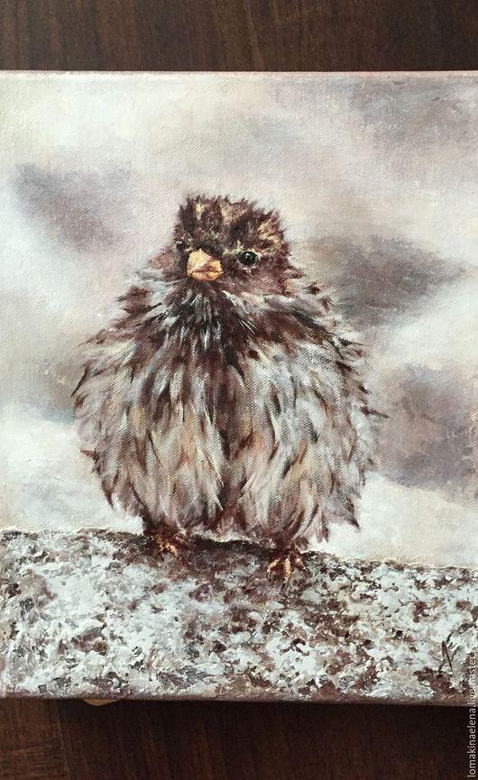 Животные ручной работы. Ярмарка Мастеров - ручная работа. Купить Картина маслом После дождя. Handmade. Комбинированный, птица, пернатые
