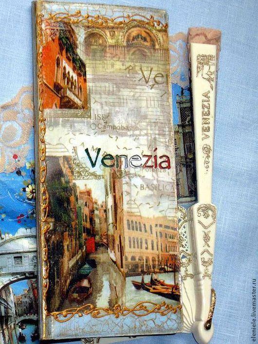 Кошельки и визитницы ручной работы. Ярмарка Мастеров - ручная работа. Купить Визитница Венеция - город влюбленных. Handmade. Голубой, лак