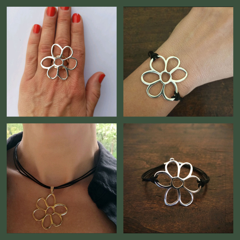 Boho flower pendant. Big flower ring and bracelet, Pendant, Turin,  Фото №1
