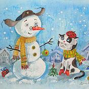 Картины и панно ручной работы. Ярмарка Мастеров - ручная работа Новый год вдвоём. Handmade.