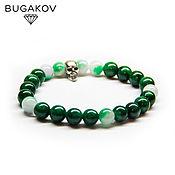 Украшения handmade. Livemaster - original item Bracelet with a skull made of green jade and chalcedony. Handmade.