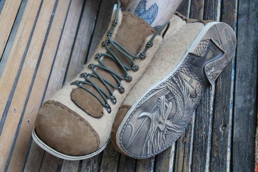 """Обувь ручной работы. Ярмарка Мастеров - ручная работа. Купить Валяные ботинки """"Dregon"""". Handmade. Бежевый, валенки"""