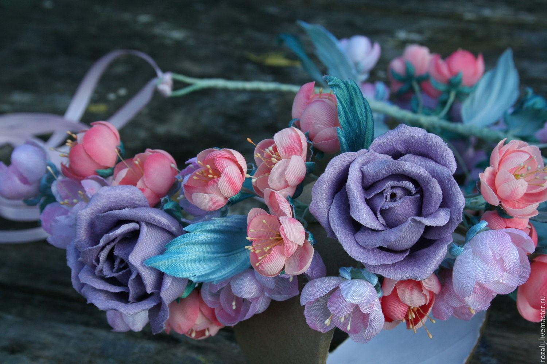 Венок Цветочное настроение Цветы из ткани, Цветы, Чусовой,  Фото №1