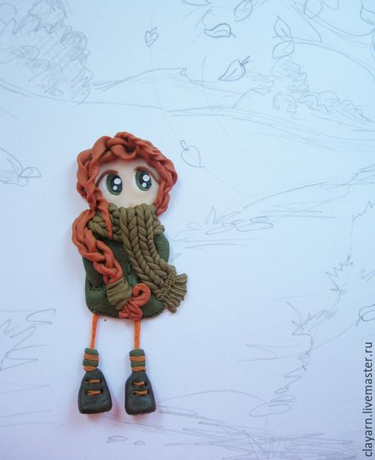 Бижутерия ручной работы. Брошка-куколка, брошка-девочка, девушка из полимерной глины. Необычный подарок подруге, коллеге, девочке. Брошь ручной работы.